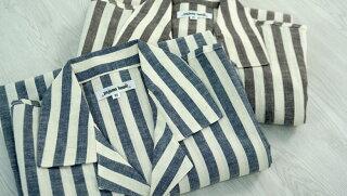 【pajamahouse】パジャマハウス麻混クレープ先染めストライプ七分袖メンズスリーパーカラー:ブラウン/ブルー(日本製)前開きタイプ羽織り寝間着パジャマ・ナイトウェア関連商品【あす楽対応】