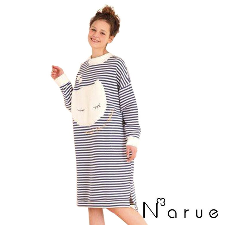 NARUE ナルエー 接結しましま レディース ワンピース フリーサイズ(M〜Lサイズ) ブルー パジャマ・ナイトウェア関連商品 婦人 長袖 あす楽対応