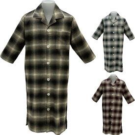 (40% OFF)【pajama house】パジャマハウス ビエラ オーバーチェック先染七分袖メンズスリーパー 男性用 Mサイズ Lサイズ ブラウン グレー レッド 日本製 前開きタイプ 羽織り 寝間着 綿100% パジャマナイトウェア関連商品