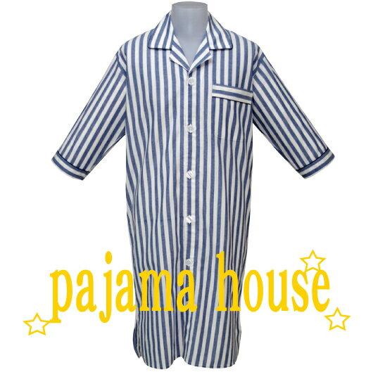 【pajama house】パジャマハウス 七分袖メンズスリーパー ダンガリーストライプ ブルー LLサイズ (日本製) かぶりタイプ 羽織り 寝間着 コットン100% 春秋夏用 パジャマ・ナイトウェア関連商品 【あす楽対応】