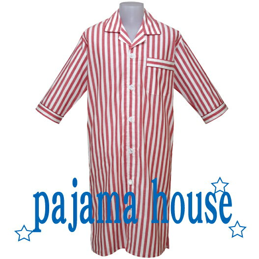 【pajama house】パジャマハウス 七分袖メンズスリーパー ダンガリーストライプ レッド (日本製) かぶりタイプ 羽織り 寝間着 コットン100% 男性向け 春秋夏用 前開き パジャマ・ナイトウェア関連商品 【あす楽対応】