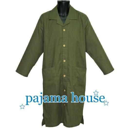 【pajama house】パジャマハウス 長袖メンズスリーパー 4サイズ展開 二重ガーゼ織無地 モスグリーン (日本製) かぶりタイプ 羽織り 寝間着 コットン100% 男性向け・春秋夏用 パジャマ・ナイトウェア関連商品 【あす楽対応】