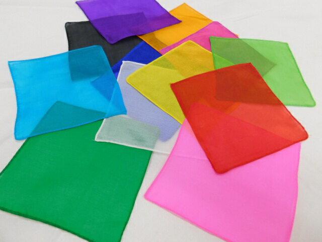 【マジック用】20cmハンカチ☆(シルク)日本製 全12色からお選びいただけます