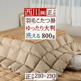 西川 こたつ布団 正方形 羽毛 こたつ掛け布団 210×210cm ウォッシャブル 洗える ホワイトダウン 天板が普通