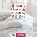 2枚まとめ買い 羽毛布団 シングル ロマンス小杉 送料無料 肌掛け布団 洗える ホワイトダウン85% 日本製 羽毛肌掛け布…