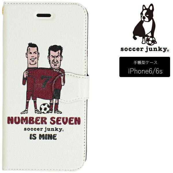サッカージャンキー iPhoneケース 手帳型 iPhone6/6S NUMBER SEVEN IS MINE SJFL028【フットサル サッカー】