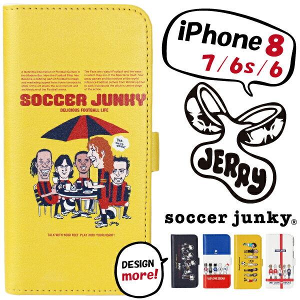 ★特価★サッカージャンキー×JERRY スマホケース 手帳型 iPhone8/7/6s/6