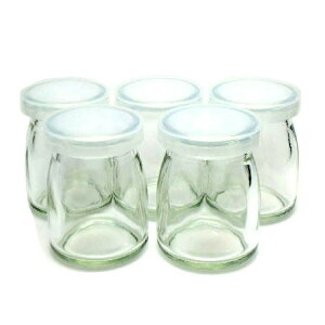 フタ付き小型ビン【5個セット】 プリン容器 ゼリー容器 デザート瓶 ミルクボトル ガラス製 容量90ml 日本製