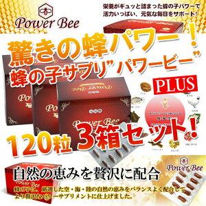 パワービー (Power Bee Plus) 120カプセル 3箱セット サプリ 健康食品 栄養補助食品 蜂の子