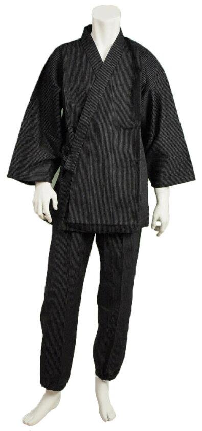 夏の男性用作務衣肌ざわり爽やかな久留米ちぢみ織り綿100%夏用メンズさむえ日本製平田織布製送料無料(離島は500円)