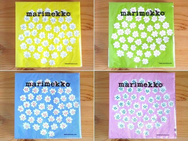 まとめ買いクーポン対象&2つまでメール便OK お試し企画vol5 マリメッコ marimekko カクテル(24×24cm) ペーパーナプキン プケッティ Puketti パステル4色セットのスペシャル企画第5弾 紙ナプキン 北欧 人気 お得