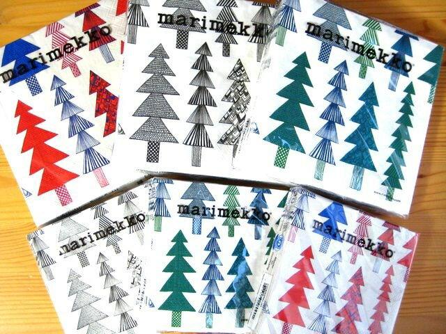 まとめ買いクーポン対象&2つまでメール便OK お試し企画vol8 マリメッコ marimekko ペーパーナプキン クーシコッサ Kuusikossa 3色×2サイズ特別SET 18枚入り 紙ナプキン 北欧 デコパージュ