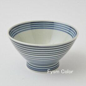 1,300点以上の波佐見焼ショップ FysmColor波佐見焼 和山 くらわんか碗 藍駒お茶碗 ボーダー シンプル HASAMI12cm×7cm 180g