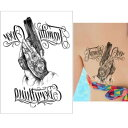 タトゥーシール フェイクタトゥー ピストル 拳銃 鉄砲 合掌 アメリカン ファッションシール 刺青 入れ墨 文身 tattoo …