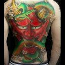 タトゥーシール 背中用 般若 蛇 大蛇 特大版 フェイクタトゥー ファッションシール 刺青 入れ墨 文身 tattoo 送料無料