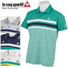 ルコックゴルフ マルチパネルボーダー半袖ポロシャツ メンズ 春夏 ゴルフウェア QGMPJA05