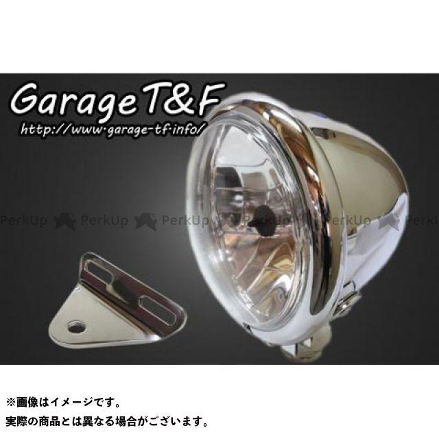 送料無料 ガレージT&F ドラッグスター400 ヘッドライト・バルブ 4.5インチベーツライト&ライトステー(タイプA)キット メッキ