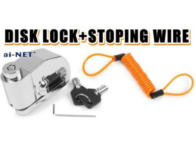アイネット ai-net ディスクロック ディスクロック+ストッピングワイヤーセット 大音量アラーム機能付き