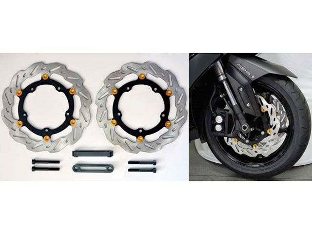 送料無料 RC甲子園 TMAX530 ブレーキキット 倒立フォーク用 298フロントブレーキキット 15年式〜 ブラック/ゴールド