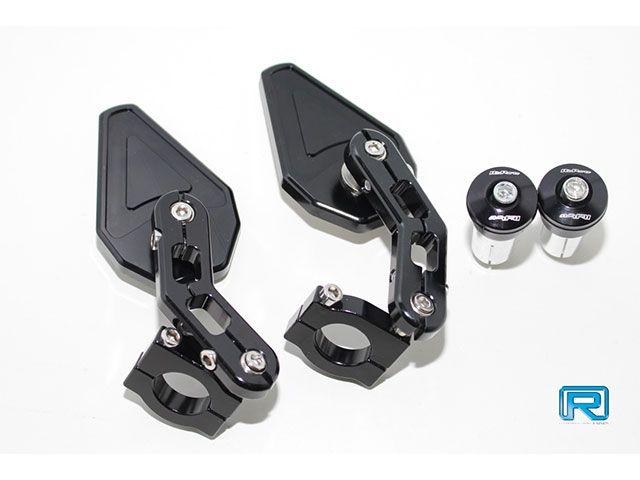 リンパーツ ズーマー ハンドル関連パーツ CNC トライアングル バーエンドミラー ブラック