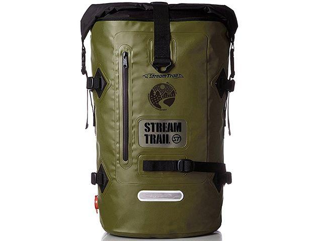 送料無料 ケメコ Kemeko ツーリング用バッグ Streamtrail コラボ 防水バックパック D2 40L オリーブD