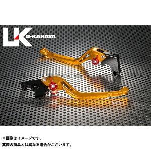 【無料雑誌付き】ユーカナヤ GSX-R600 GPタイプ アルミ削り出しビレットレバー(レバーカラー:ゴールド) 調整アジャスターカラー:オレンジ U-KANAYA