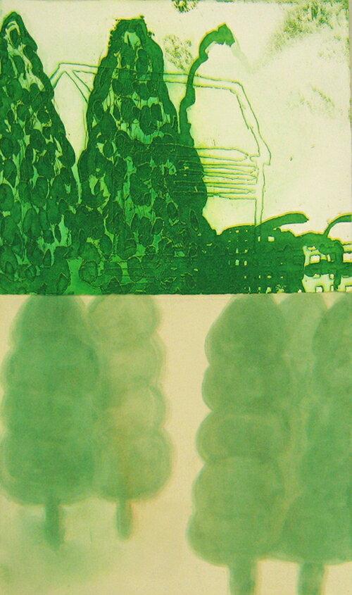 原陽子、木々、版画/銅版画