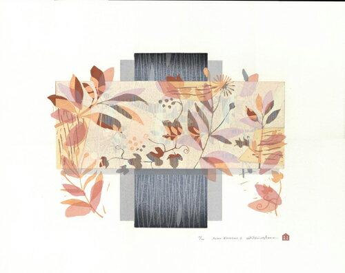 白駒一樹、Asianblossoms-2、版画/油性木版シルクスクリーン