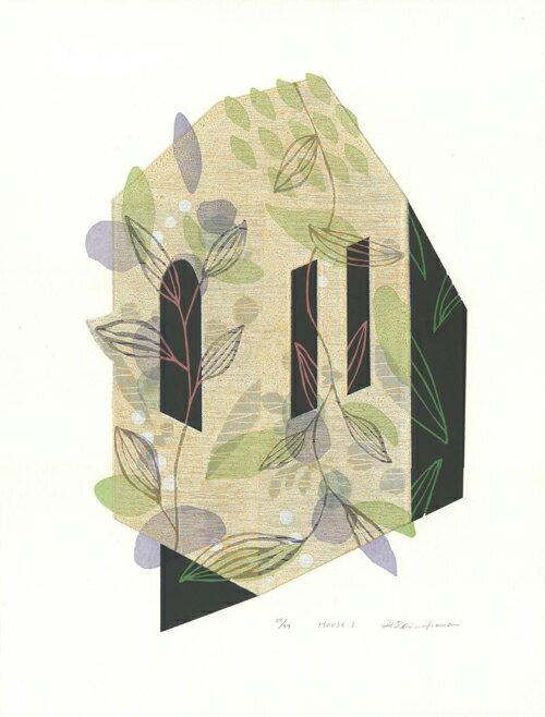 白駒一樹、House-1、版画/油性木版シルクスクリーン