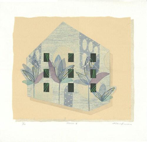 白駒一樹、House-2、版画/油性木版・シルクスクリーン