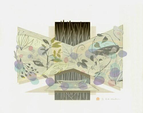 白駒一樹、夏の船、版画/油性木版シルクスクリーン