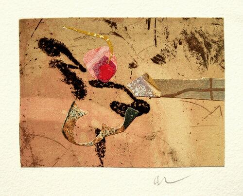 山本正文、一粒のサクランボ-、版画/銅版画+コラージュ