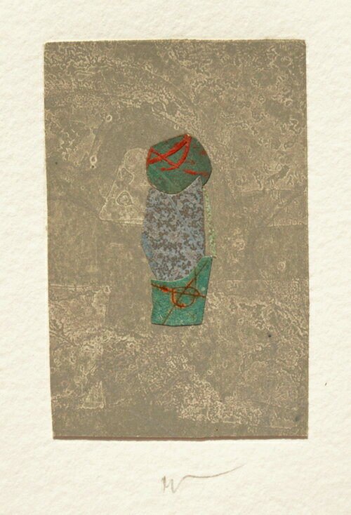 山本正文、冬のつぼみ-、版画/銅版画+コラージュ