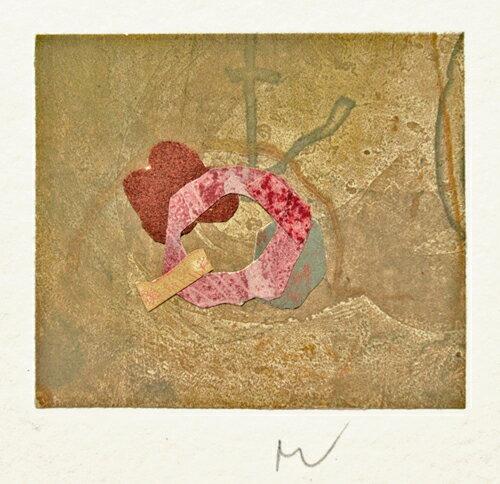 山本正文、秋の花園-、版画/銅版画+コラージュ