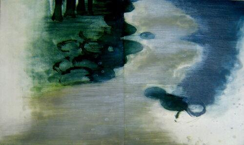 【現代アート】版画/エッチング・アクアチント原陽子そこは河口にほど近く広くゆっくりとよどみ-2絵画版画現代アートモダンアートインテリアアートインテリアアート抽象画リトグラフ銅版画エッチングアクアチント木版画シルクスクリーン版画送料無料