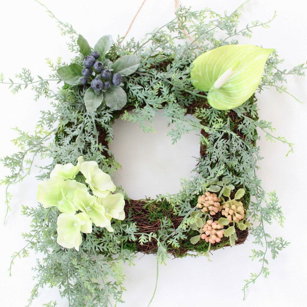 多肉植物・観葉植物リース 造花のグリーンリース【N-24】
