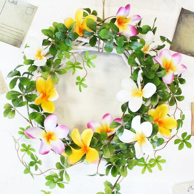 シュガーバイン&プルメリア【ハワイアン】造花のリース【Lサイズ】 直径約25cm