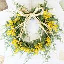 ミモザ リース【Lサイズ】 玄関飾り 春リース 造花