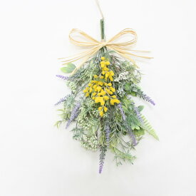 ミモザ ラベンダー リース スワッグ 玄関飾り 造花