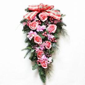 クリスマス バラのスワッグリース