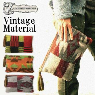 复古羊毛毯广场门手佣人离合器袋日本制造