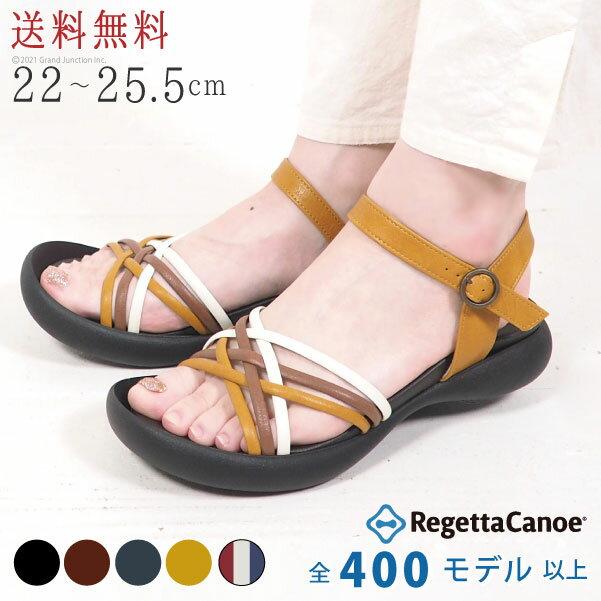 リゲッタ カヌー/サンダル/レディース/リゾート/編み込みストラップサンダル/日本製/RegettaCanoe/歩きやすい/軽量/ぺたんこ/CJFD5303/CJFD5311