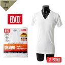 【ゆうパケット便送料無料】_3 BVD V首半袖 裏起毛 Tシャツ 2枚組 メンズ 綿100% スムース インナー 肌着 2P 紳士 ホワイト