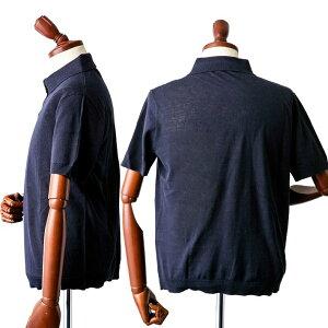 コットンリネン台衿ニット半袖ポロシャツメンズ麻綿40代メンズスタイルグレーブルーネイビーワイン370754G-stage(ジーステージ)
