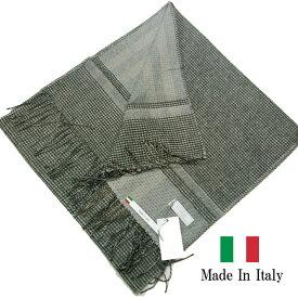イタリア製 マフラー ストール 千鳥 ダブルフェイス グレー バレンタイン プレゼント 281903-104