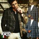 ジャケット グレンチェック イタリアFORTEX生地綿麻ネップチェックジャケット ブラウン ネイビー サマージャケット 580201 G-stage(ジーステージ)