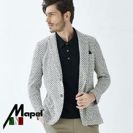 サマー ニットジャケット メンズ イタリアMAPEL社製生地 織柄コットン ジャケット ネイビー ホワイト 580203 G-stage ジーステージ