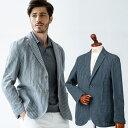 メンズ 春夏 シャツジャケット イタリアLEOMASTER生地 リネン モールストライプ 清涼 グレイ ネイビー 580204 G…
