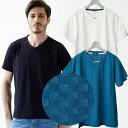 半袖 Tシャツ チェッカードジャガード織りTシャツ 半袖 チェッカード柄 Vネック ネイビー ブルー ホワイト 581503 G-stage(ジーステージ)