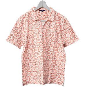ポロシャツスキッパー花柄ジャージ素材グレーネイビーオレンジ581505G-stage(ジーステージ)